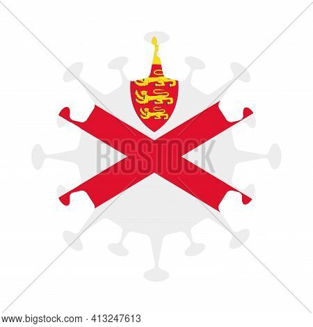 Flag Of Jersey In Virus Shape. Country Sign. Vector Illustration.