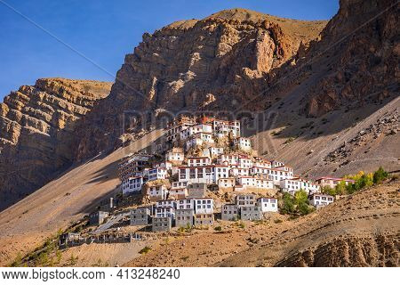 Kye Gompa Also Spelled Ki, Key Or Kee Is A Biggest Tibetan Buddhist Monastery Located At An Altitude