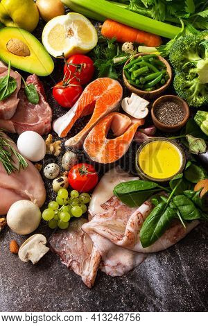 Ketogenic Diet Concept, Ingredients For Healthy Food. Various Balanced Useful Components Healthy Low