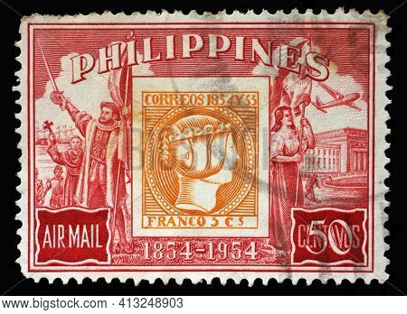 ZAGREB, CROATIA - SEPTEMBER 18, 2014: Stamp printed in Philippines issued on the occasion of the 100th Anniversary of Philippine Stamp, circa 1954