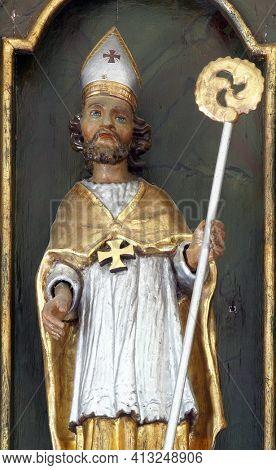 SVETI PETAR MREZNICKI, CROATIA - JULY 14, 2013: St. Blaise, statue on the high altar at St. Peter's Parish Church in Sveti Peter Mreznicki, Croatia