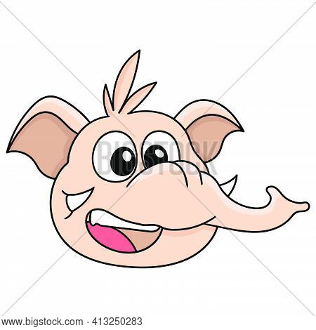 Elephant Head Emoticon With A Happy And Prosperous Face, Doodle Icon Image. Cartoon Caharacter Cute