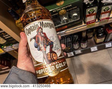 Belgrade, Serbia - March 4, 2021: Logo Of Captain Morgan Spiced Rum Club On Bottles For Sale In Belg
