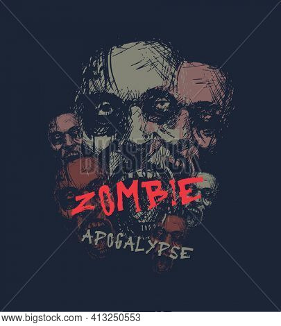 Zombie apocalypse. Zombie head. Hand drawn jpeg version