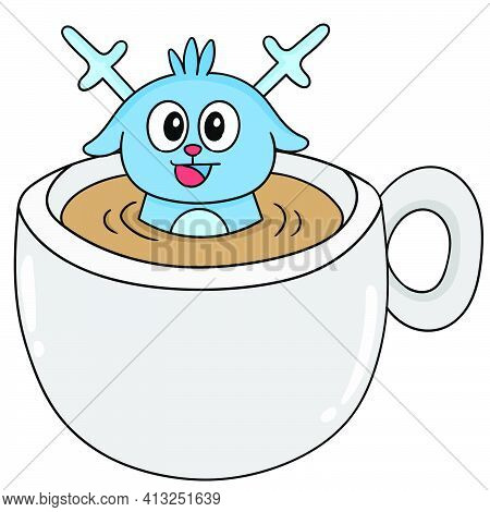 Cute Creatures Soaking In A Cup Of Coffee, Character Cute Doodle Draw