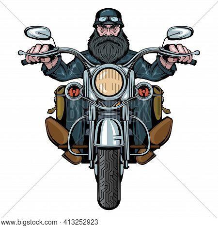 Biker Man Sits On A Bike. Man Riding A Motorcycle. Bearded Biker Man. Tattoo. Biker Party. Male Face
