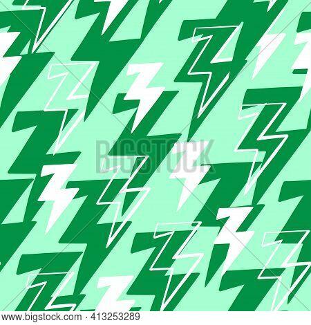 White And Green Thunderbolt Illustration Seamless Pattern.