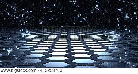 Hexagon Space Bokeh Glitter Hexagonal Bokeh Effect Geometric Bokeh Abstract Hexagonal Steel Material