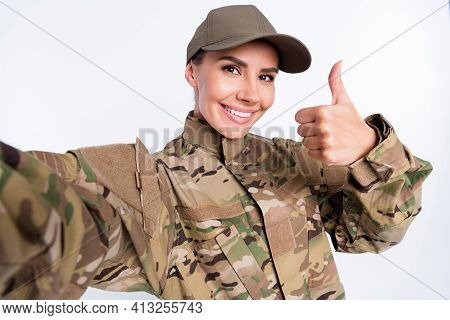 Photo Of Young Woman Happy Positive Smile Soldier Make Selfie Show Thumb-up Like Cool Advert Isolate