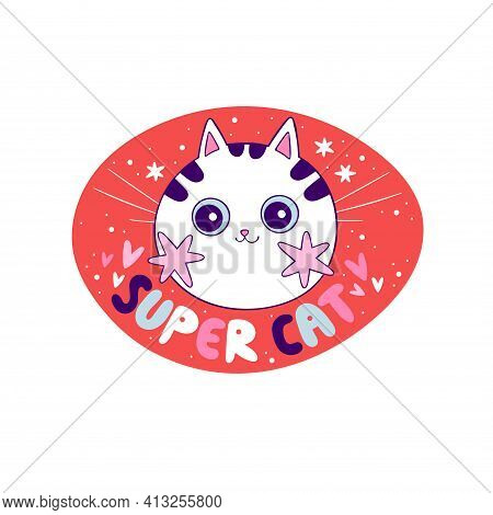 Super Cat Lettering. Cute Little Cat Muzzle. Pink Cheeks. Cartoon Animal. Isolated Vector Object On