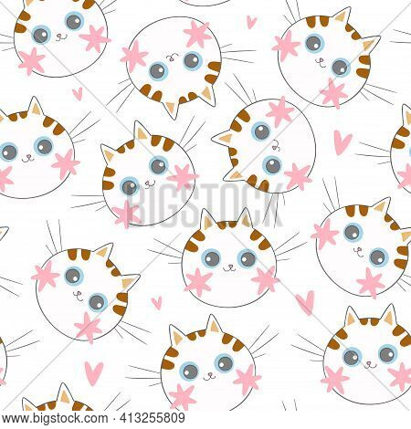 Cute Little Cat Muzzle. Pink Cheeks. Cartoon Animal. Pink Hearts. Seamless Vector Pattern (backgroun