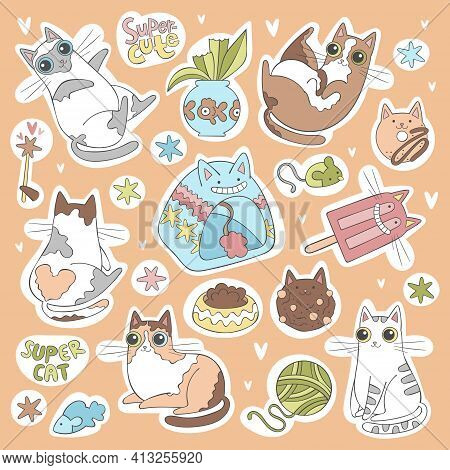 Cute Little Cats. Stickers Set. Cat Toys, Cat House, Cat Food. Sweets: Cookies, Ice Lolly, Donut. St