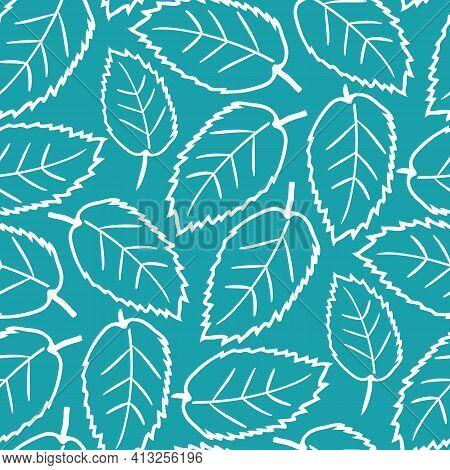 Elm Leaf Seamless Vector Pattern Background. Hand Drawn White Line Art Single Leaves On Aqua Blue Ba