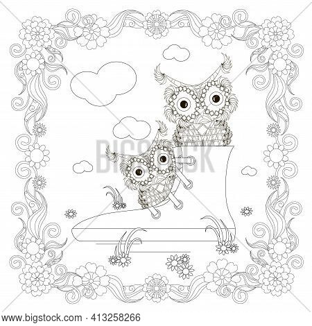 Sneakers With Owl In Floral Frame Design Element Stock Vector Illustration For Coloring Book, Anti S