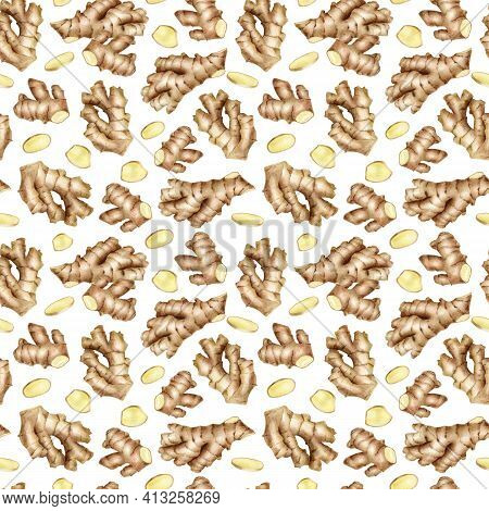 Ginger Root Seamless Pattern With Cut Slices. Hand Drawn Watercolor Ginger Rhizome Isolated On White
