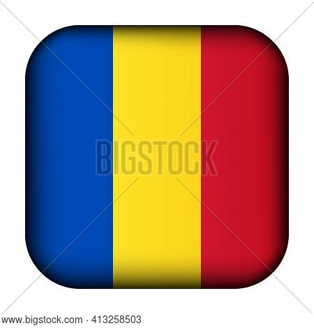 Glass Light Ball With Flag Of Romania. Squared Template Icon. Romanian National Symbol. Glossy Reali