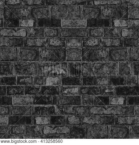 Seamless Texture Brick Stone Black Grey Color. Tiling Clean For Background Pattern. Rectangle Mosaic