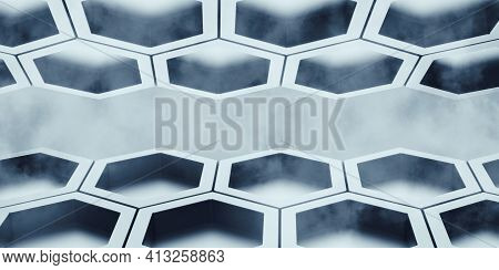 Hexagon Abstract Bee Nest Shiny Hexagon Covered With Haze Hexagonal Wall 3d Illustration Honeycomb P