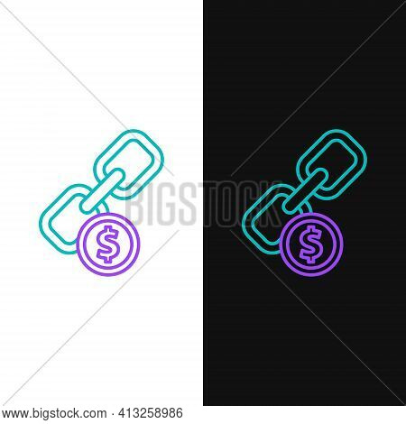 Line Chain Link And Coin Icon Isolated On White And Black Background. Link Single. Hyperlink Chain S