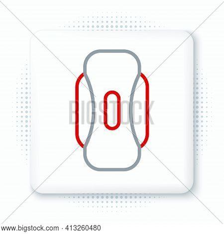 Line Menstruation And Sanitary Napkin Icon Isolated On White Background. Feminine Hygiene Product. C