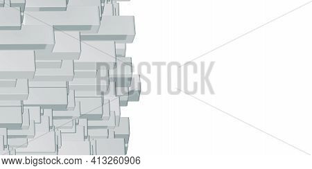 3d Illustration Animated White Square Cubes Rectangle Polygonal Geometry Gradient With Random Boxes