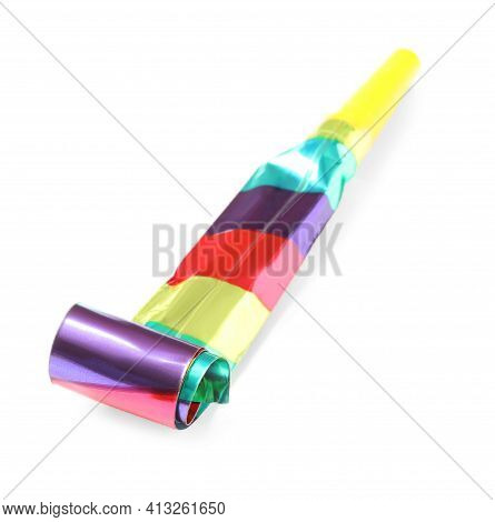 Party Blower Isolated On White. Clown's Accessory