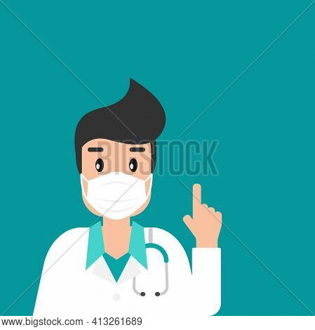 Man Doctor With Medical Mask On Blue Background. Winter Precautions List. Check Yourself. Virus Medi