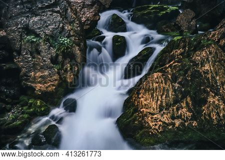 Long Exposure Of One Of The Gollinger Wasserfalls Next To The Town Of Golling An Der Salzach, Austri
