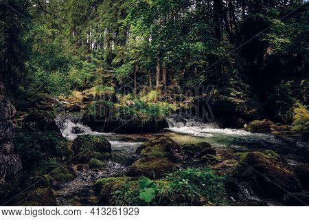 Clear Small Waterfalls In The Gollinger Wasserfalls Near Golling An Der Salzach. Wild Nature Rich In