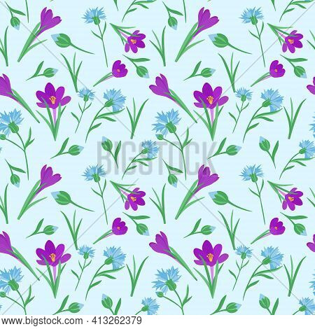 Seamless Repeating Pattern With Spring Flowers. Phlox Flowers And Cornflowers Are Scattered Randomly