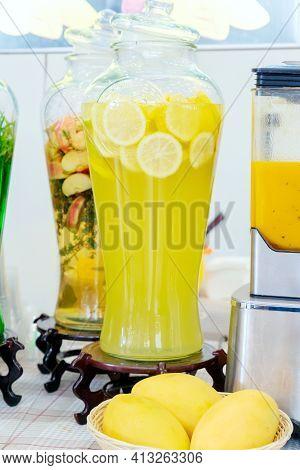 Jar Of Lemonade. Fresh Sliced Lemons. Ice Cold Useful Juicy Beverage. Refreshing Drink During Summer