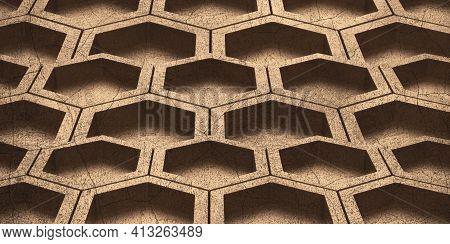 Hexagon Abstract Bee Nest Shiny Hexagon Hexagonal Wall 3d Illustration Honeycomb Pattern Wall