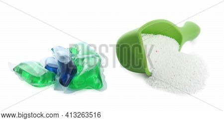 Laundry Capsules And Measuring Scoop Of Washing Powder On White Background