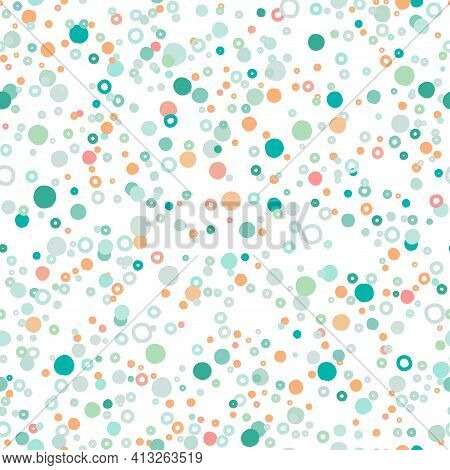 Seamless Abstract Pattern With Shabby Spots And Bubbles Of Different Pastel Blue And Green Colors. K