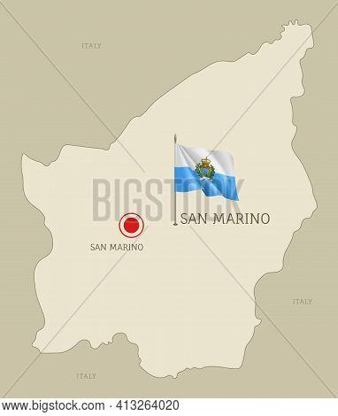 Detailed Map Of San Marino Territory Borders