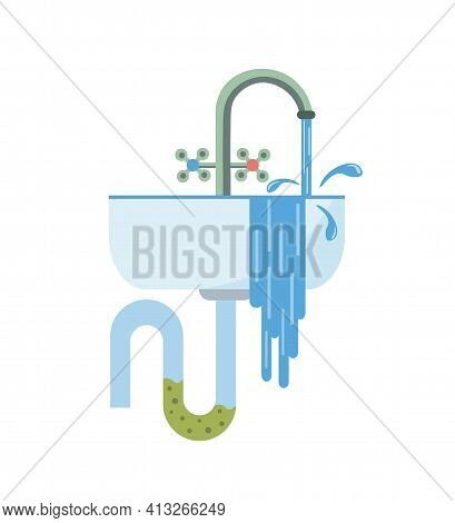 Blockage Of Pipe. Water Flows From The Sink. Sink In The Bathroom Or Kitchen. Broken Sewer System. V