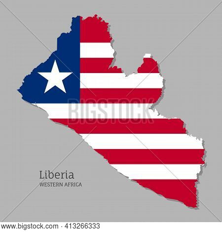Map Of Liberia With National Flag. Highly Detailed Map Of Western Africa Country