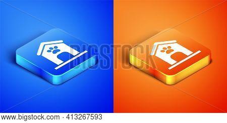 Isometric Dog House And Paw Print Pet Icon Isolated On Blue And Orange Background. Dog Kennel. Squar