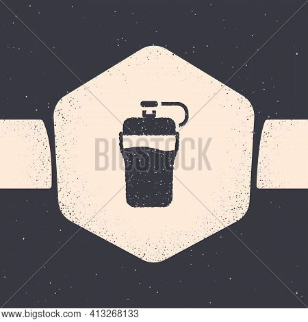 Grunge Fitness Shaker Icon Isolated On Grey Background. Sports Shaker Bottle With Lid For Water And