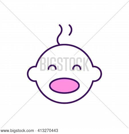 Emotional Development In Infancy Rgb Color Icon. Showing Smile And Curiosity. Emotional Responses. C