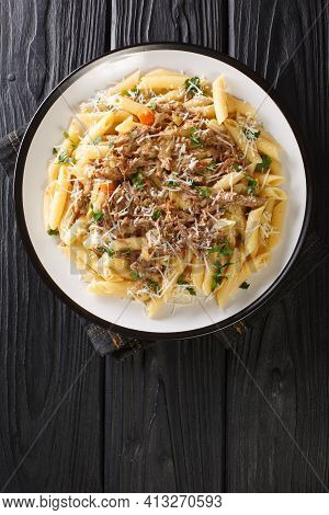Genovese Sauce Is A Rich, Onion Based Pasta Sauce Served With Pasta Close Up In The Plate On The Tab