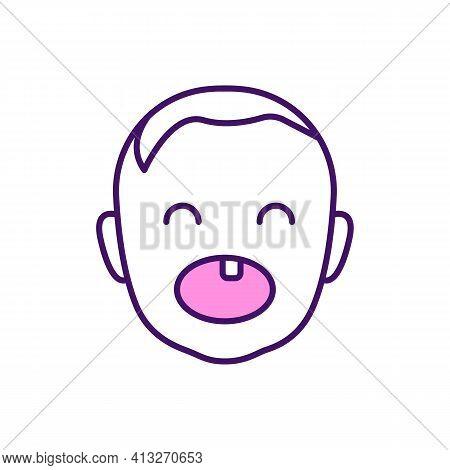 Deciduous Teeth Rgb Color Icon. Teething Period. Baby Jaws. Milk Teeth. Childhood Illness. Gums Swel
