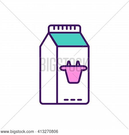 Cow Milk Rgb Color Icon. Highly Nutritious Beverage. Protein, Calcium Source. Infant, Child Feeding.