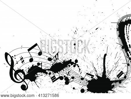 Musical Design From Music Staff Elements With Treble Clef And Notes On Grunge Background With Copy S