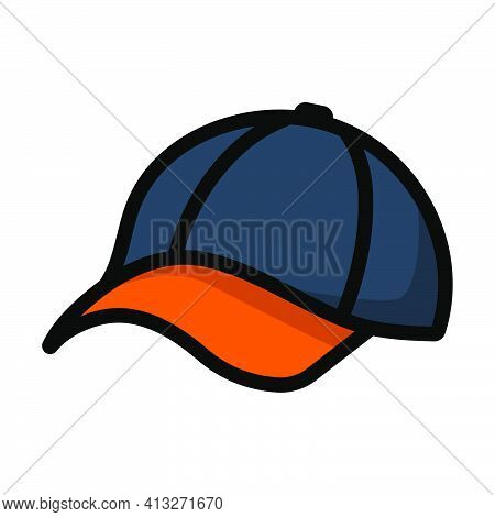 Baseball Cap Icon. Editable Thick Outline With Color Fill Design. Vector Illustration.