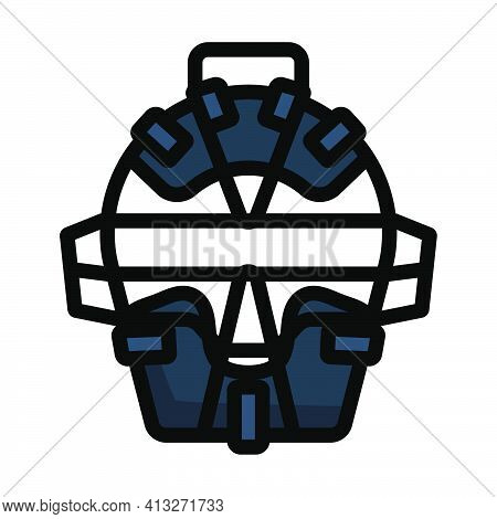 Baseball Face Protector Icon. Editable Thick Outline With Color Fill Design. Vector Illustration.