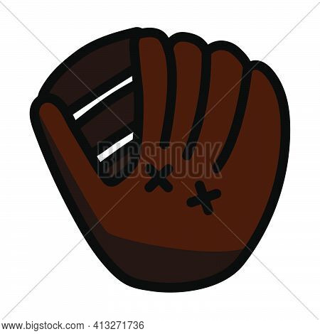 Baseball Glove Icon. Editable Thick Outline With Color Fill Design. Vector Illustration.
