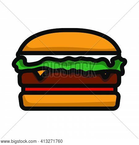 Icon Of Hamburger. Editable Thick Outline With Color Fill Design. Vector Illustration.