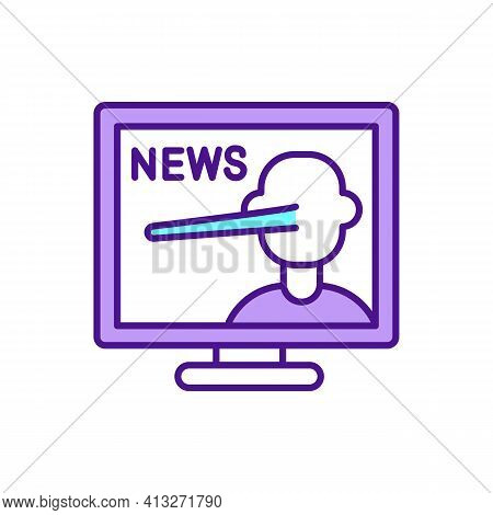 News Propaganda Rgb Color Icon. Influencing And Manipulating Public Opinion. False, Misleading Infor