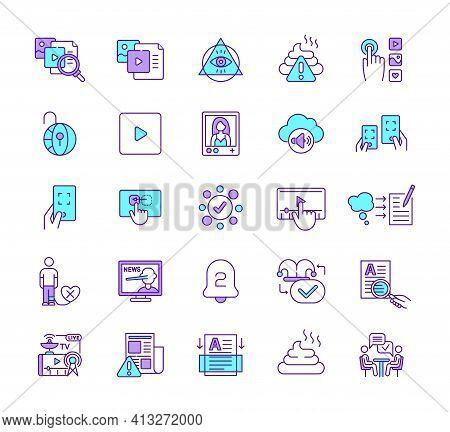 New Media Rgb Color Icons Set. Mass Communication. Media Literacy. Fake News. Conspiracy Theory. Int